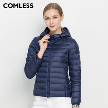 COMLESS 18 Colors Casual Ultralight Hooded Down Jacket with 90% Down Feather Warm Zip Up Women Hoodies Winter Down Coat Jacket