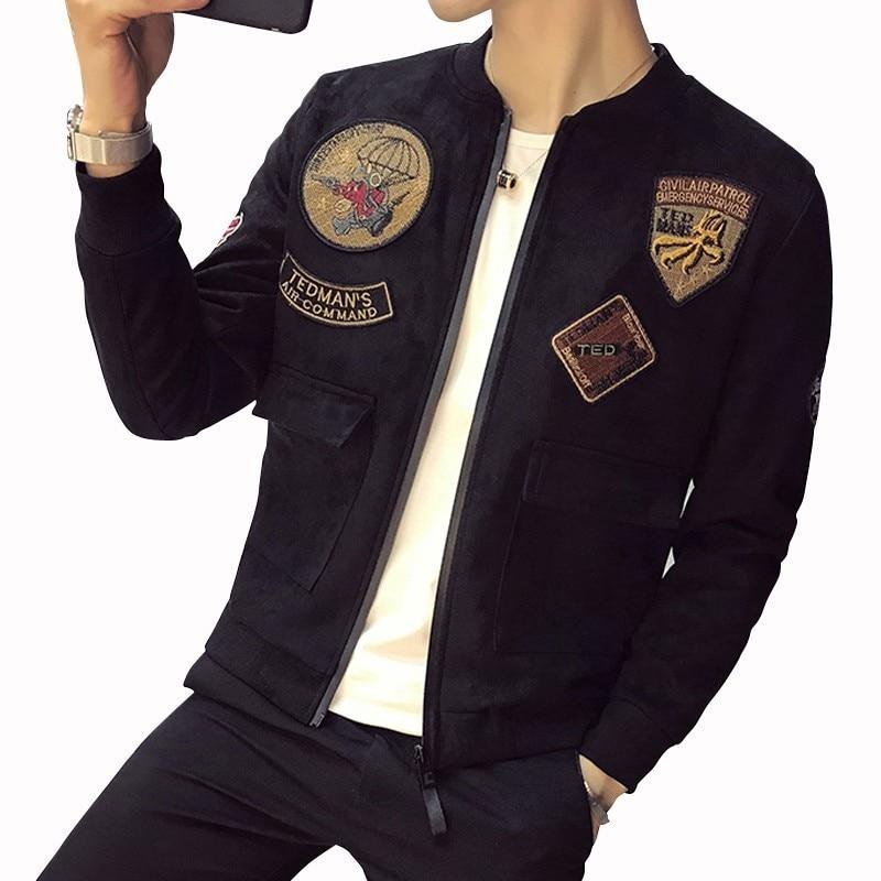 Bomber Men Jacket With Patch  Pocket Ropa Para Hombre Casual Mens Jackets Slim Fit Suede Jacket Men Black  Army Pilot Jacket