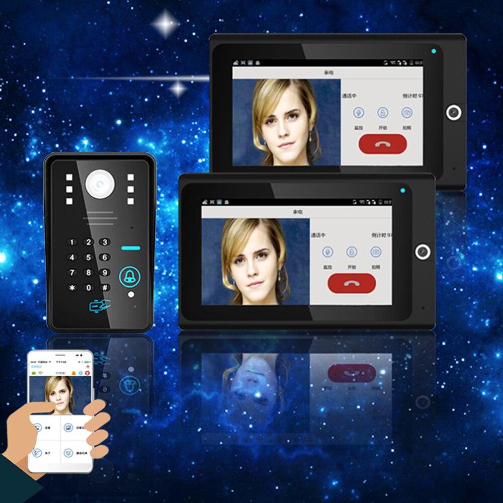 Popular 7 2 Senha RFID Telefone Video Da Porta intercom Doorbell Monitor Sem Fio WiFi Câmera IP IR Night Vision Sistema de Alarme Home