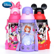 Disney Minnie Mickey Mouse Cups Cartoon Plastic Solid Feeding Student Convenient Outdoor Child Sports Bottle With Straw 500ML(China)