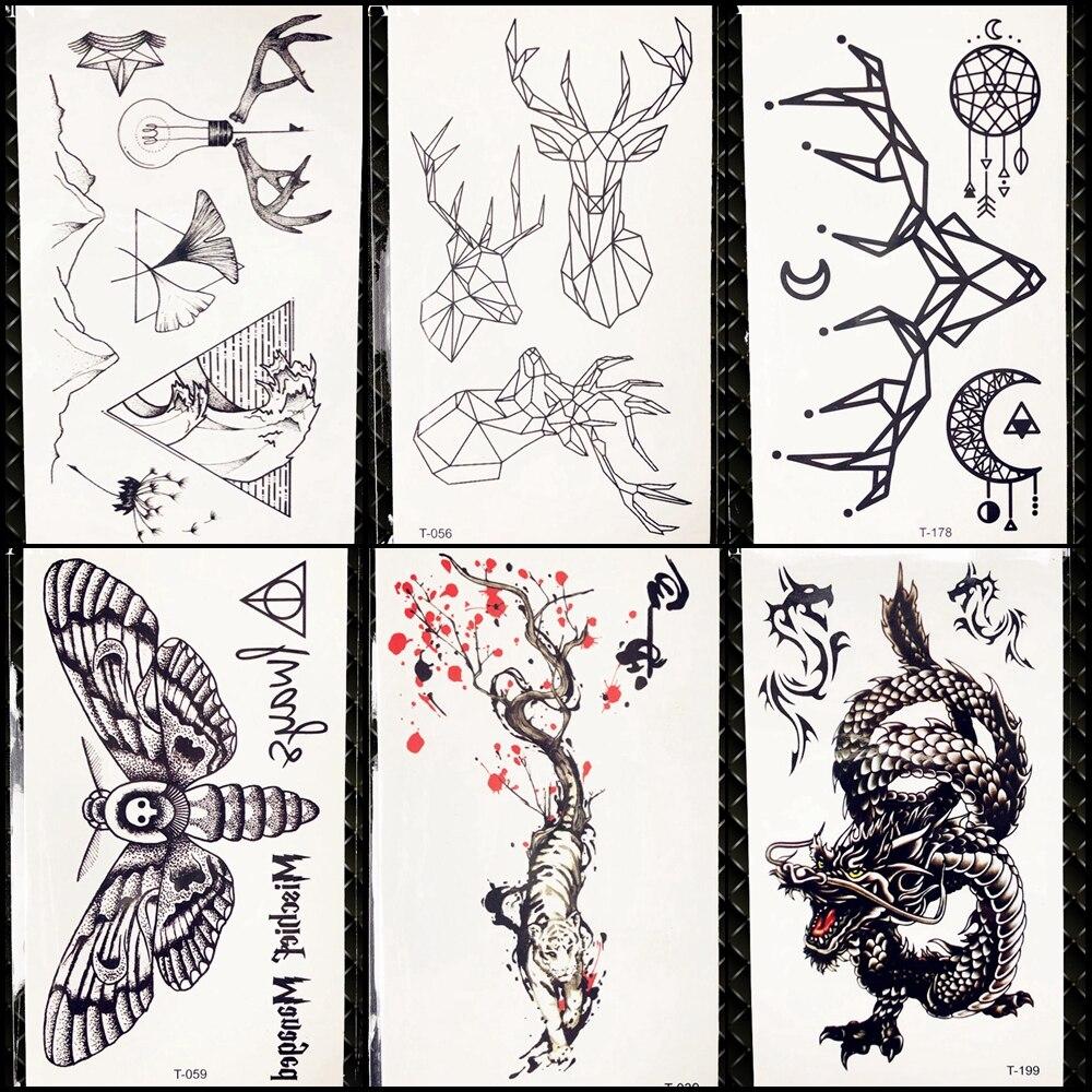 Geometric Elk Waterproof Tattoo Sexy Charm Women Chest Temporary Moose Tattoo Stickers Men Body Hands Art Tatto Animal Halloween