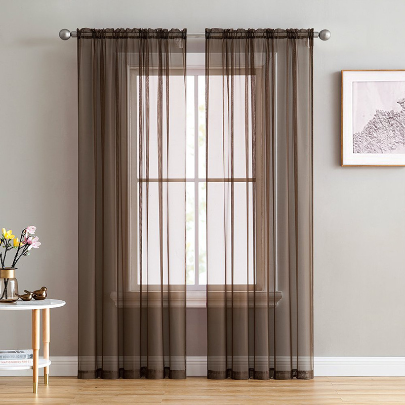 Modern White Sheer Voile Curtains For Living Room Pure Tulle Bedroom Kitchen Curtain Brown Translucidus Home Window Decoration