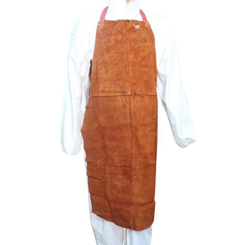 91 cm Length Welding Clothing Cow Leather Welder Pants 44 - 7136 Split Cow Leather Welding Aprons flounce hem split pants