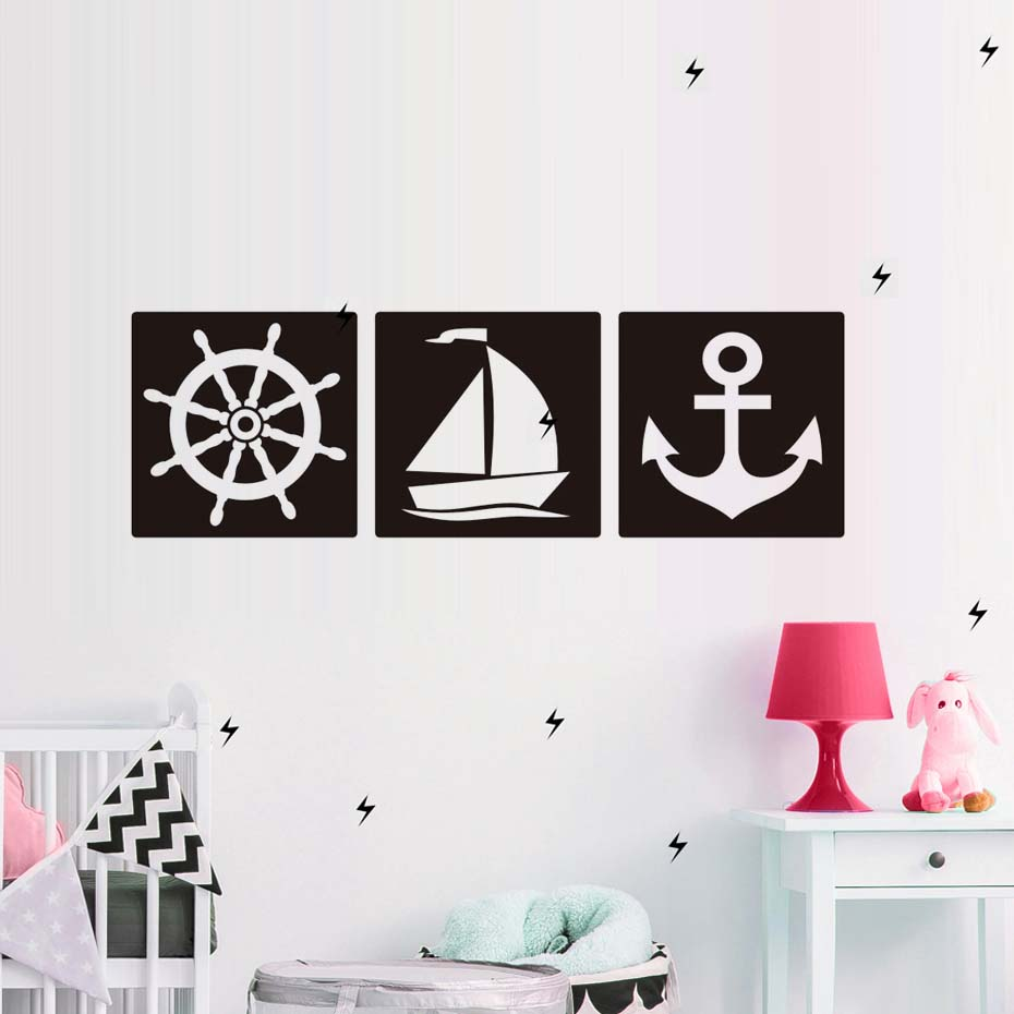 Wheel Boat Anchor Rudder Vinyl Wall Stickers Home Decor For Kids Living Room Removable Art Murals Self Adhesive Wallpaper