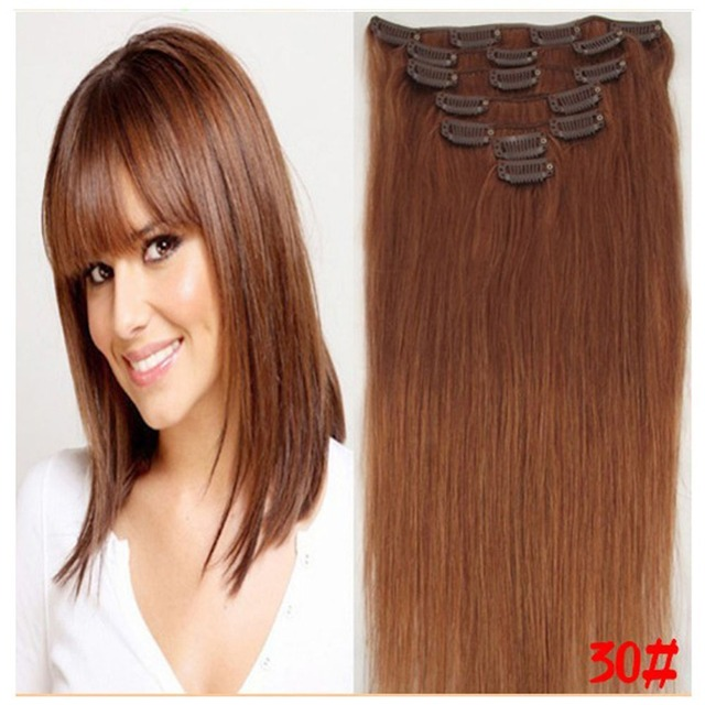 Fast Shipping Human Hair Extensions 15 22 Inch Straight Clip In