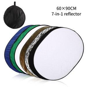 Image 1 - 24 pouces x 35 pouces (60cm x 90cm) photographie réflecteur ovale pliable Photo vidéo 7 en 1 réflecteurs de lumière disque
