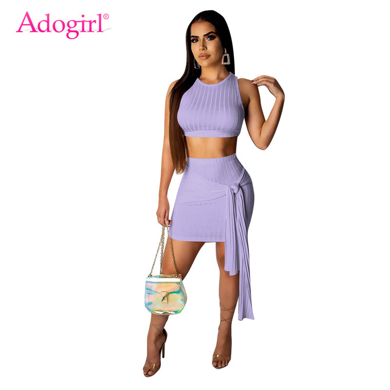 Adogirl <font><b>Ribbed</b></font> Knitted Casual Two Piece <font><b>Set</b></font> Dress O Neck Sleeveless Crop Top + Tie Up Bodycon Mini <font><b>Skirt</b></font> Women Summer Outfits image