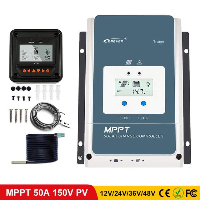 EPever 50A MPPT Charge Controller 48V/36V/24V/12V Max 150V 2500W Input Negative Ground Fit AGM Sealed Gel Flooded Battery LCD