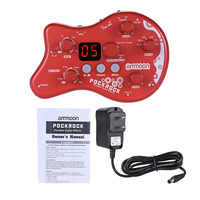 PockRock Portable Guitar Multi effects Processor Effect Pedal 15 Effect Types 40 Drum Rhythms Tuning Function Power Adapter