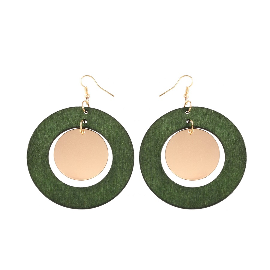 YULUCH Natural Wooden Earrings Handmade Round Hollow Wooden Earrings Metal Accessiores Earrings For Woman Girls Party Wedding