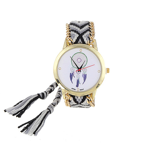 Image 5 - ZHINI zegarki pasek ręcznie tkany pasek na rękę Relojes Vintage wiatr wzór ozdobiony ręcznie tkany pasek projekt tkaniny damskie zegarki