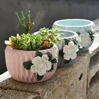 New European Color Porcelain Large meat Flowerpot Creative Living Room Decoration Garden Meat Flower Pot