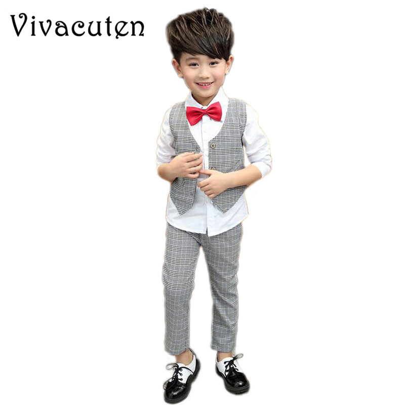Fashion Plaid Blazer For Boys England Style Formal Suits Long Sleeve Shirt Vest Pants 3pcs Kids Suit Boys Wedding Clothes H012 boys formal suits set weddings birthday child kids fashion party tuxedos boys plaid formal suits blazer vest pants 3pcs h027