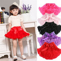 Girls Kids Petticoat Solid Color Pettiskirt Bow-knot Skirt Tutu Ballet Petti Dancewear 1-7Y