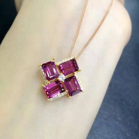 natural red garnet pendant S925 silver Natural gemstone Pendant Necklace trendy Elegant Box Square women girl party jewelry