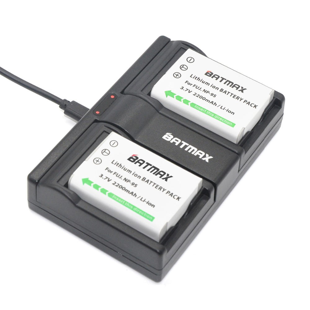 2Pcs 2200mAh NP-95 NP95 Np 95 Batteries +USB Dual Charger For Fujifilm FinePix F30 F31fd Real 3D W1 X-S1 X100 X100s RICOH GXR