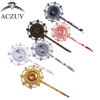 200piece 12mm Cabochon Setting Hair Clips Base Hair Bobby Pins Bezel Blank Hairpin Findings Hair Jewelry Accessories FJT008