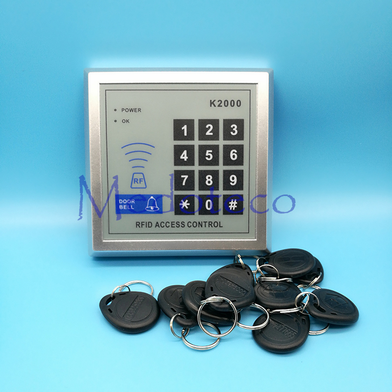 High Quality Free shipping+10 rfid tag+RFID Proximity Card Access Control System RFID/EM Keypad Card Access Control Door Opener metal rfid em card reader ip68 waterproof metal standalone door lock access control system with keypad 2000 card users capacity