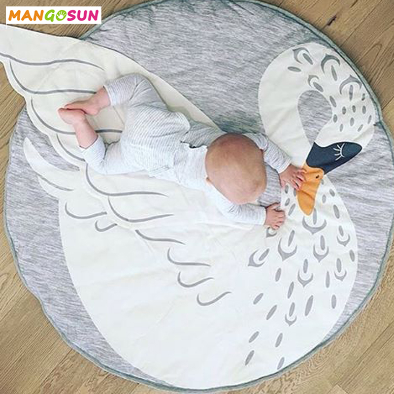 Batteries Baby Play Mat Blanket Children Letter Alphabet Crawling Mat Swan Game Pad Round Carpet Children Room Decoration Ins Hot Style