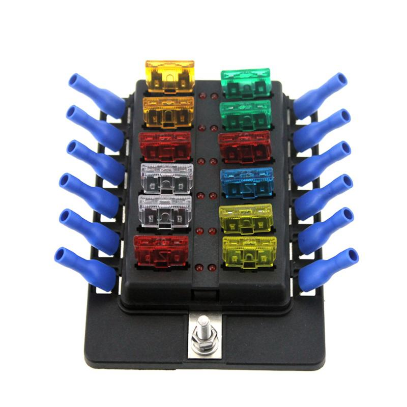 VODOOL Auto Car Boat 12 Way Circuit Standard ATO ATC Blade Fuse Box Block Holder Marine Trike Fuse Box Car Accessories