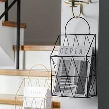 Металлические настенные стеллажи для книг в скандинавском стиле, креативные настенные декоративные корзины, настольные стеллажи для хранения, держатели для газет