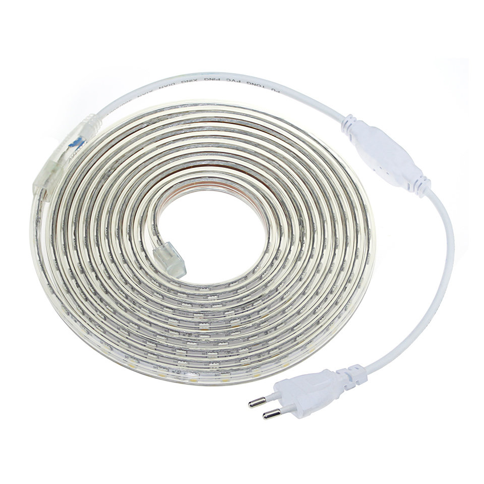 LED strip light IP67 AC220V 60LED/m Waterproof Tira led 5050SMD pool lighting 1m-25m Outdoor Garden diode tape Rope Set+EU Plug