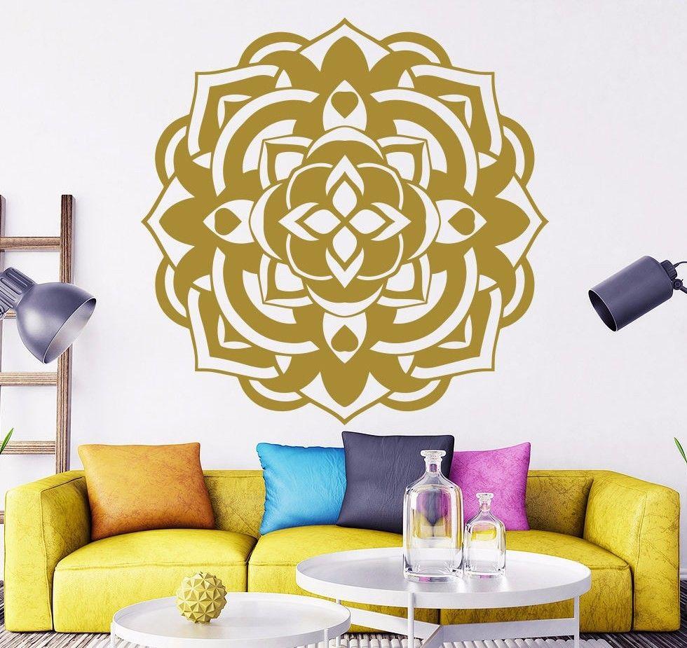 Ingyenes házhozszállítás Arany Mandala virágos fali matricák, - Lakberendezés