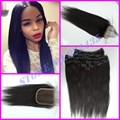 Brazilian Virgin Human Clip-ins hair extensions 2sets clip-ins hair wefts with lace closure 1pc,straight clip-ins hair weavings