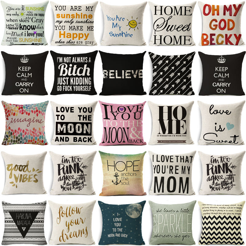 Nordic funny words letters Cotton Linen Quote Cushion Cover Romantic Valentine Day Gift Pillowcase Throw Pillow Cover almofadas