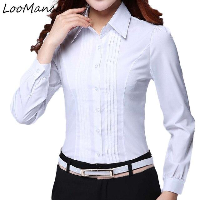 f02be4cca2 Formal de moda mujeres ropa 2019 nueva Slim de manga larga blusa blanca  elegante OL señoras
