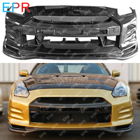 For Nissan GTR R35 TS Style Glass Fiber and Carbon Fiber Front Bumper Tuning Part Trim Racing For R35 GTR Fiberglass Bumper