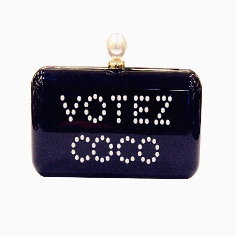 ФОТО 2017Personalized pendants pearl black acrylic coconut party well, women handbag clutch purse wallet chain shoulder bag