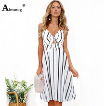 Aimsnug Black stripe Backless Knot Detail Fit And Flare Cami Dress Women Sleeveless Casual 2019 Summer Spaghetti Strap Dresses недорого