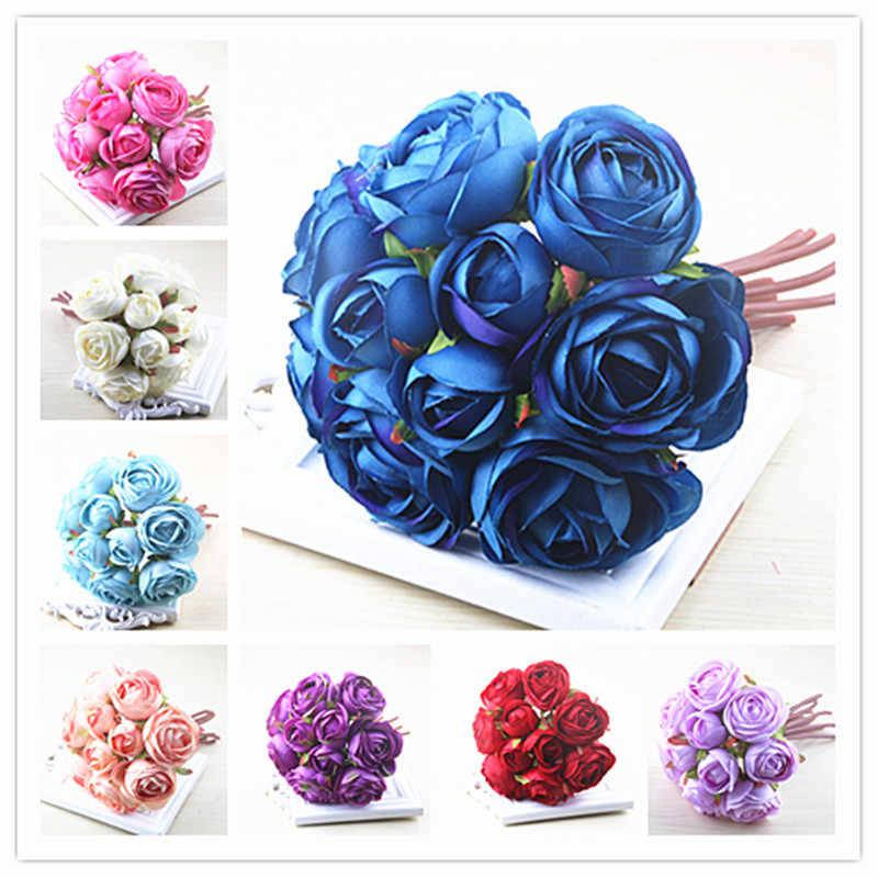 Royal Blue Soft Silk Rose Flower Bouquet 10 Stems Artificial
