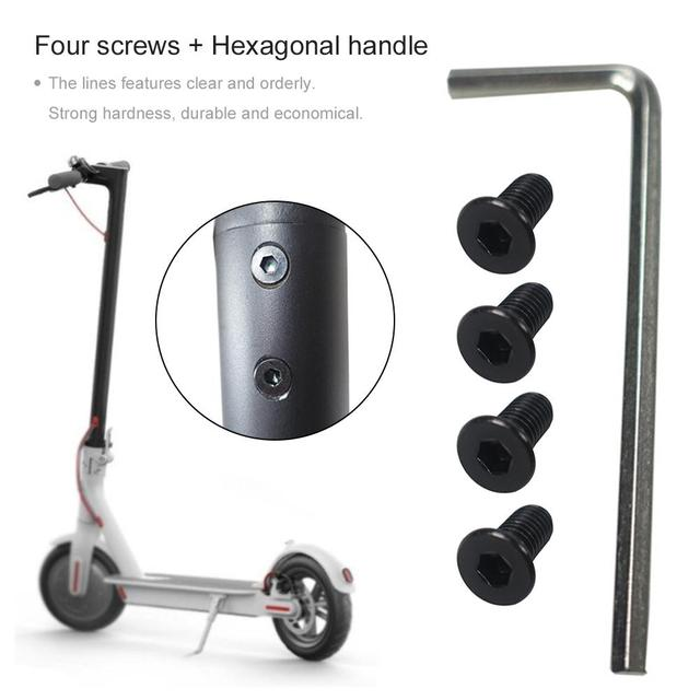 New 4pcs Black Forehead Faucet Screws With Hex Handle For Electric Scooter For Xioami M365 M185 Electric Scooter Accessories