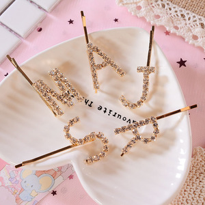 New Crystals Hairpin Letter Barrette Hair Pins Metal Hair Clips Wedding hair styling tools Hair Stick Accessories for Women Girl