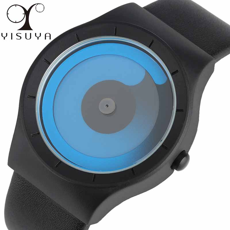 Yisuya creativo hidromasaje Aurora turntable reloj moda Corea concepto masculinos de cuero ocasional reloj femenino Relogio masculino ulzzang