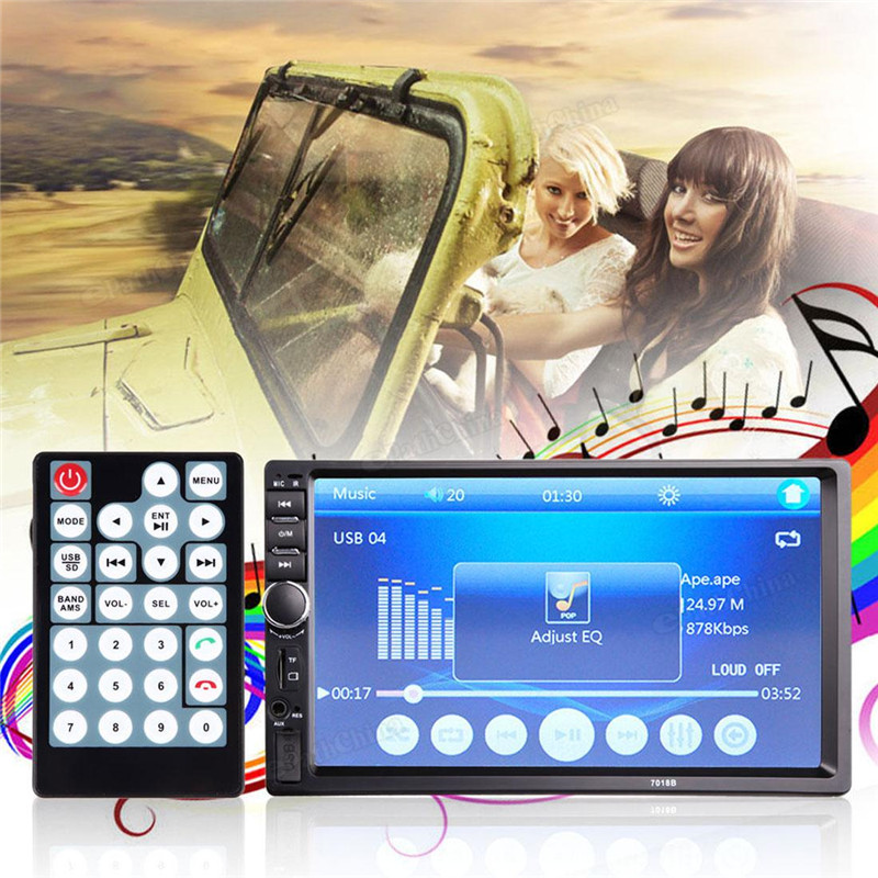 7018B 7 LCD HD Double DIN Car In-Dash Touch Screen Bluetooth Car Stereo FM MP3 MP5 Radio Player with Wireless Remote Controller f6063b 7 inch hd touch screen 2din car in dash fm radio receiver bluetooth dvd cd player with wireless remote control