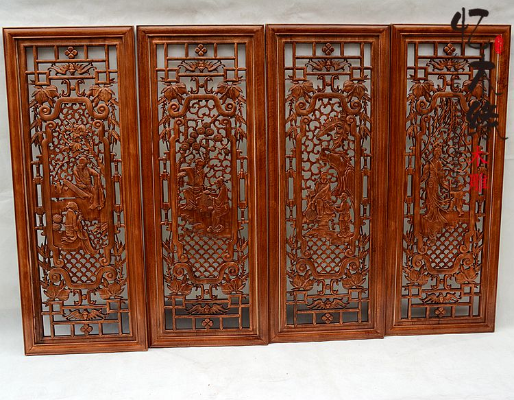 Dongyang woodcarving entrance partition, screen incense camphor wood, television background wall pendant, antique solid wood wal dongyang woodcarving camphor wood furniture wood carved camphorwood box suitcase box antique calligraphy collection box insect d