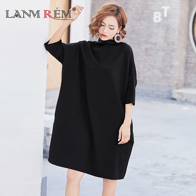 LANMREM 2018 New Fashion Korean Autumn Dress Solid Color Batwing Sleeve Semi-high  Loose Large Size Casual Dress Women F981