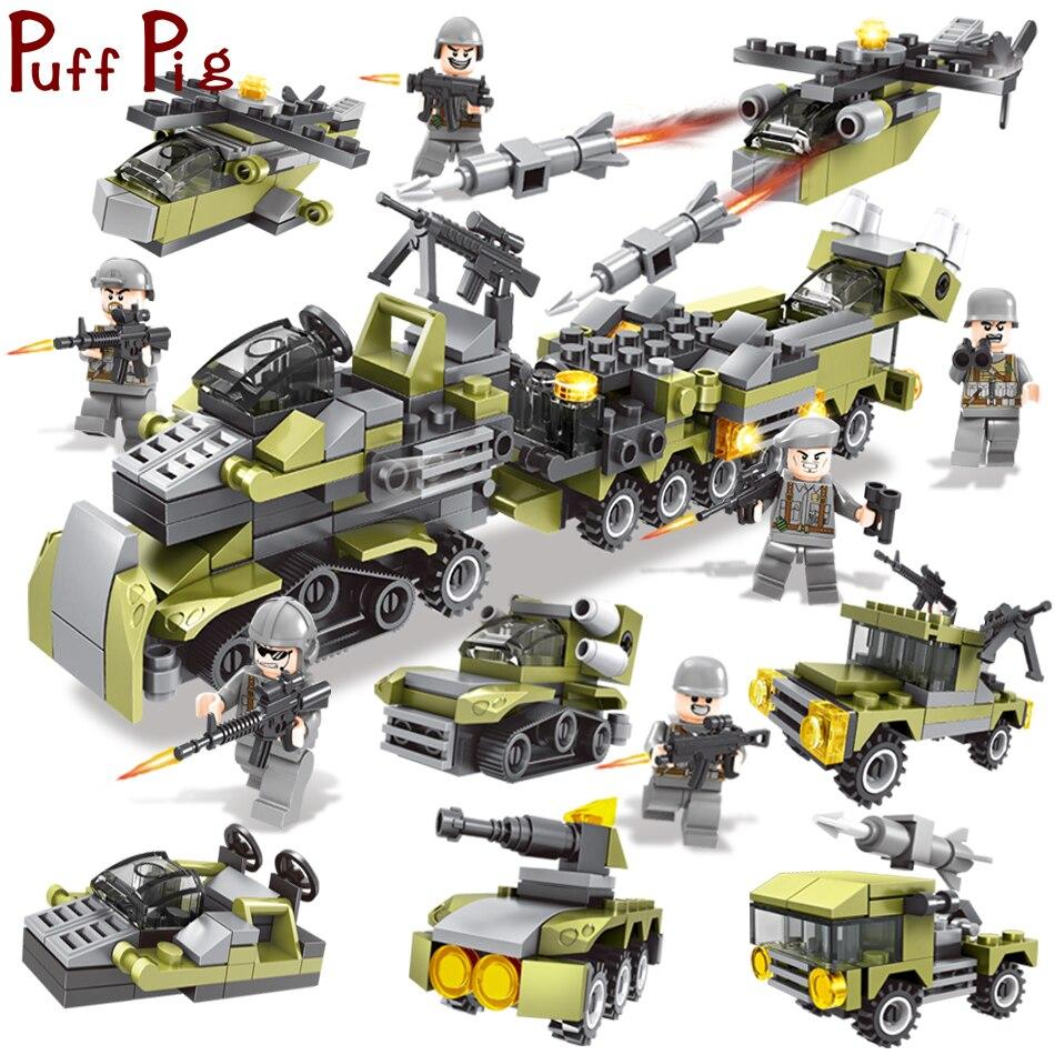 296 шт. 6in1 Военная Униформа строительные блоки армии автомобили вертолет солдаты оружие пистолет Совместимость Legoed Развивающие игрушки для ...