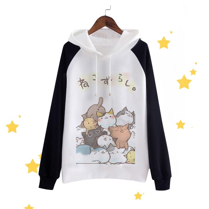 New Anime Neko Atsume Hoodies Cute The cat backyard Men Hooded Men Casual cotton Fall Winter warm Sweatshirts