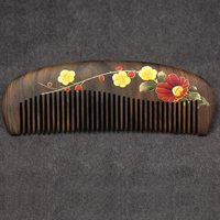 Natural anti static wood combs massage wooden print flower Comb Hair Care health brush comb hairbrush comb gift for female adult