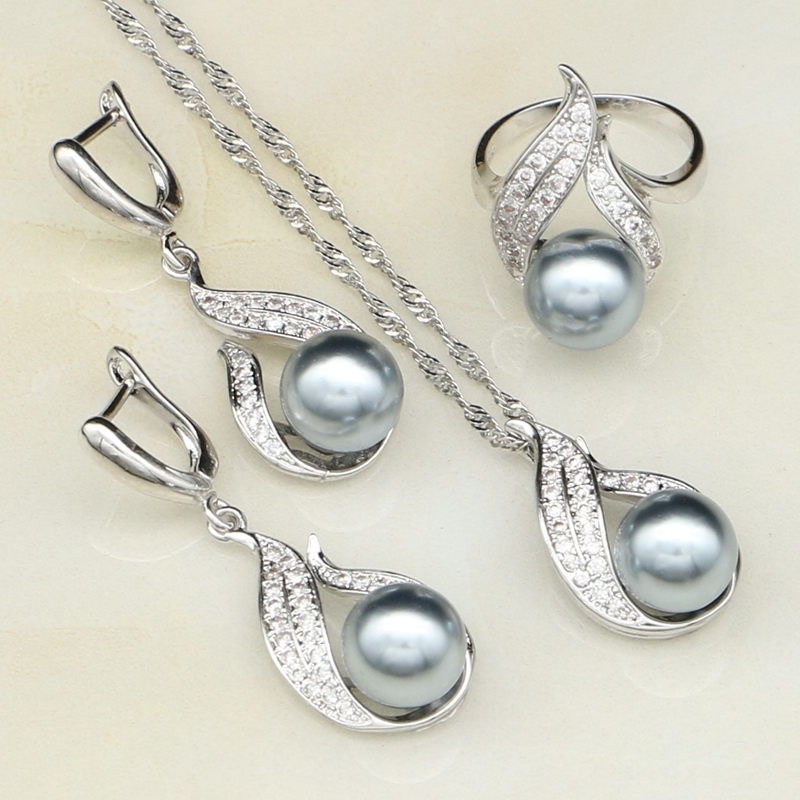 Gray Imitation Pearl White...