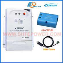 wifi BOX and USB cable for communication function Tracer2210CN 12V 20A solar panels system solar regulator charger battery