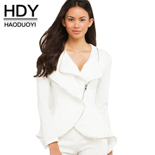 HDY Haoduoyi Solid White Women Autumn Casual Coat Streetwear Slim Long Sleeve Basic Coats Natural Zipper Female Short Jackets