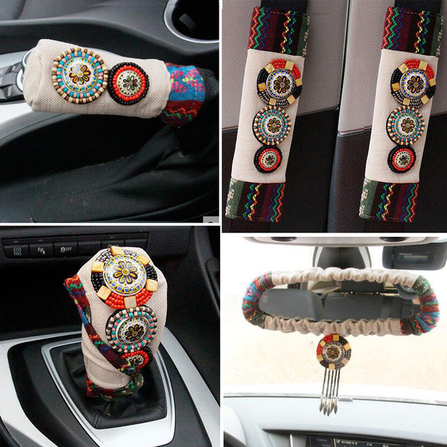 5pcs/ set Retro Beaded Car Seat Covers Interior Accessories Handbrake Gear Covers Flax Fabric Car Safety Belt Shoulder Pads
