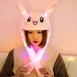 Милый кролик плюшевый головной убор забавная игрушка ухо вверх вниз кролик подарок светодиодная световая игрушка для детей девушки
