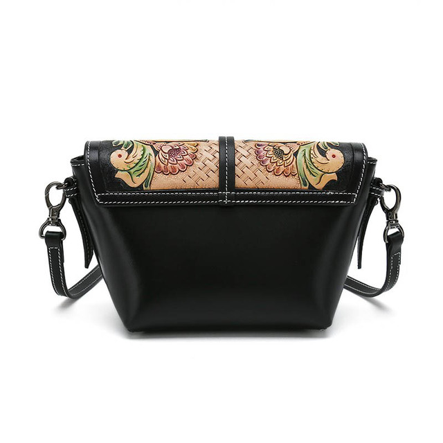 Nuleez cross body bags women genuine cow leather wallet hand carving purse Tang grass pattern Chinese Style popular 2019