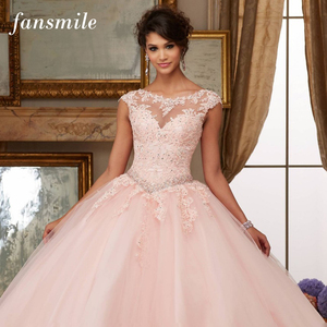 Image 1 - Fansmile Tulle Mariage Vestido De Noiva Pink Lace Wedding Dresses 2020 Plus Size Long Train Wedding Gowns Bride Dress FSM 458T